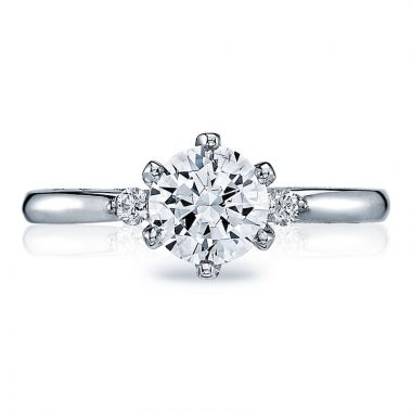 Tacori Platinum Sculpted Crescent 3 Stone Diamond Engagement Ring