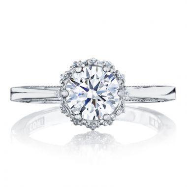 Tacori 18k White Gold Sculpted Crescent Halo Diamond Engagement Ring