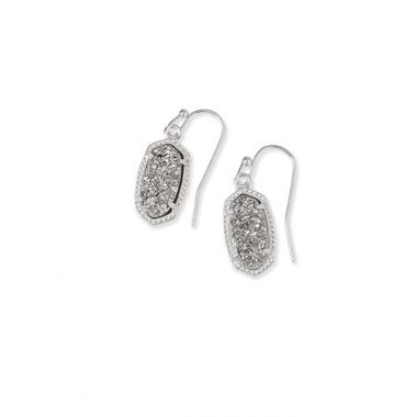 Kendra Scott Lee Silver Drop Earrings in Platinum Drusy