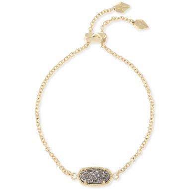 Kendra Scott Elaina Gold Adjustable Chain Bracelet in Platinum Drusy