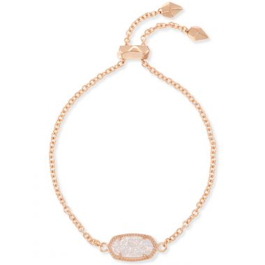 Kendra Scott Elaina Rose Gold Adjustable Chain Bracelet in Iridescent Drusy
