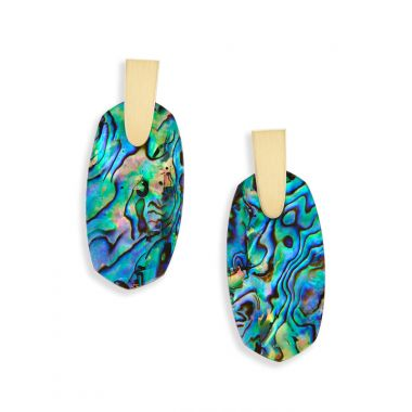 Kendra Scott Aragon Gold Drop Earrings in Abalone Shell