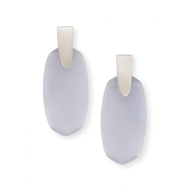 Kendra Scott Aragon Silver Drop Earrings in Slate Cats Eye