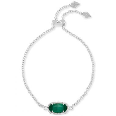 Kendra Scott Elaina Silver Adjustable Chain Bracelet in Emerald Cats Eye