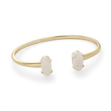 Kendra Scott 14 KT Gold Plated Edie Cuff Bracelet in Iridescent Drusy
