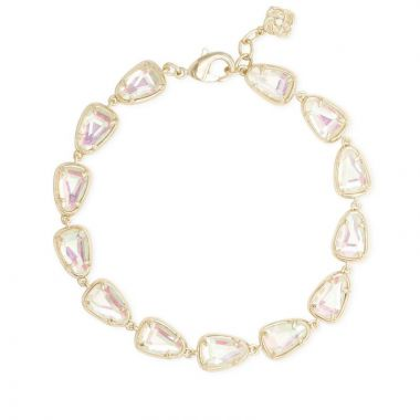 Kendra Scott 14 KT Gold Plated Susanna Link Bracelet in Dichroic Glass