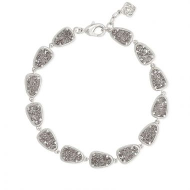 Kendra Scott Silver Plated Susanna Link Bracelet in Platinum Drusy