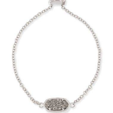 Kendra Scott Silver Elaina Adjustable Chain Bracelet in Platinum Drusy