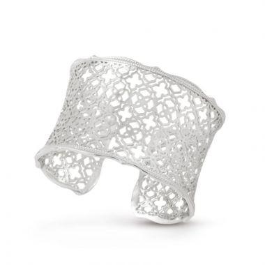 Kendra Scott Silver Candice Cuff Bracelet in Filigree Pattern