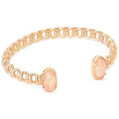 Kendra Scott 14 KT Rose Gold Plated Elton Cuff Bracelet in Blush Wood