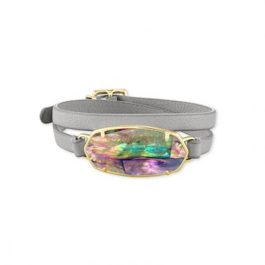 Kendra Scott 14 KT Gold Plated Elle Wrap Bracelet in Lilac Abalone W/ Grey Leather Strap