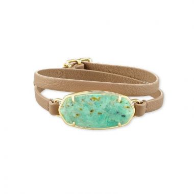 Kendra Scott 14 KT Gold Plated Elle Wrap Bracelet in Sea Green Chrysocolla W/ Beige Leather Strap
