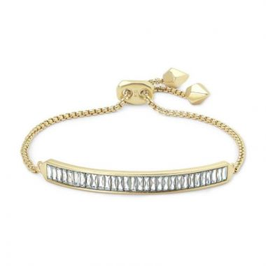 Kendra Scott 14 KT Gold Plated Jack Adjustable Chain Bracelet W/ White Baguette Crystal Accents