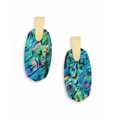 Kendra Scott 14 KT Gold Plated Aragon Dangle Earrings in Abalone Shell