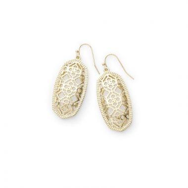 Kendra Scott 14 KT Gold Plated Elle Dangle Drop Earrings in Filigree Pattern