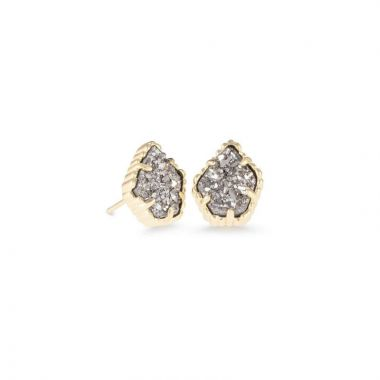 Kendra Scott 14 KT Gold Plated Tessa Stud Earrings in Platinum Drusy