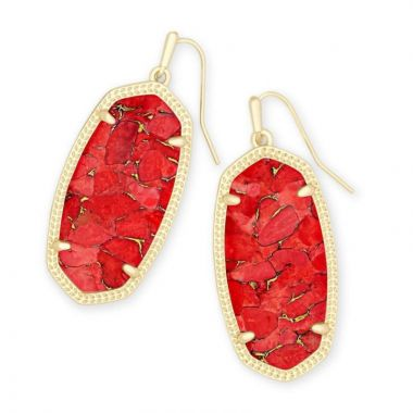 Kendra Scott Gold Bronze Elle Earrings in Red Magma