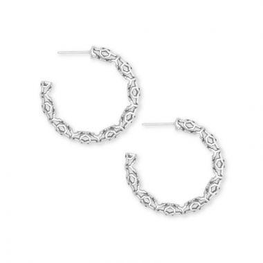 Kendra Scott Silver Maggie Small Hoop Earrings in Silver Filigree Pattern