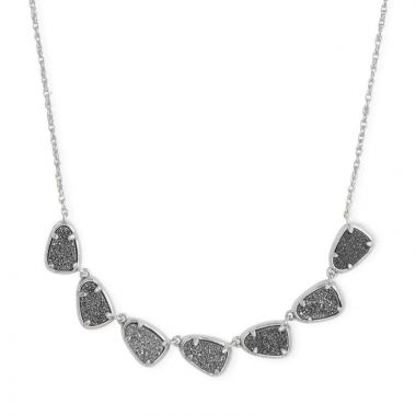 Kendra Scott Silver Susana Collar Multistone Necklace in Platinum Drusy