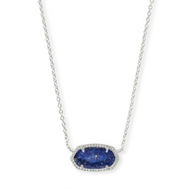 Kendra Scott Bright Silver Elisa Pendant Necklace in Blue Lapis