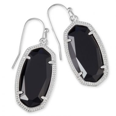 Kendra Scott Silver Dani Drop Earrings in Black