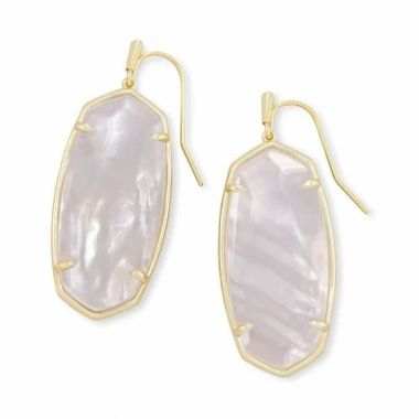 Kendra Scott 14 KT Gold Plated Faceted Elle Drop Earrings in Ivory Mother of Pearl
