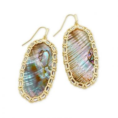 Kendra Scott 14 KT Gold Plated Macrame Danielle Earrings in Nude Abalone