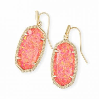 Kendra Scott 14 KT Gold Plated Dani Earrings in Coral Opal