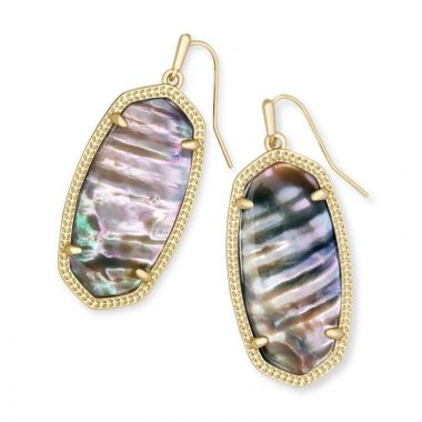 Kendra Scott 14 KT Gold Plated Elle Earrings in Nude Abalone