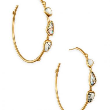 Kendra Scott 14 KT Gold Plated Ivy Hoop Earrings in Vintage White Mix