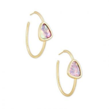 Kendra Scott 14 KT Gold Plated Margot Hoop Earrings in Lilac Abalone