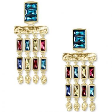 Kendra Scott 14 KT Gold Plated Jack Small Statement Earrings W/ Multi-Colored Baguette Accents