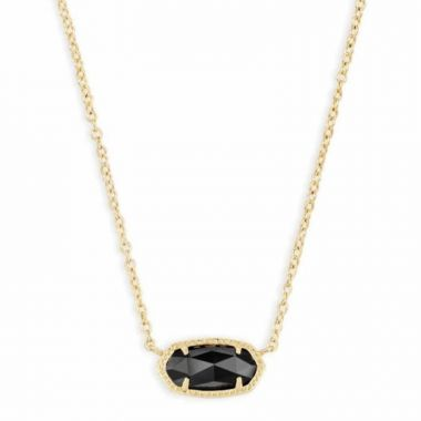 Kendra Scott 14 KT Gold Plated Elisa Necklace in Black Glass
