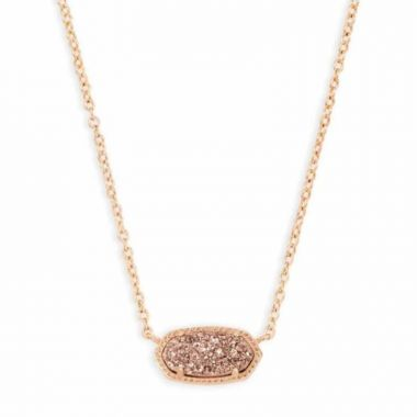Kendra Scott 14 KT Gold Plated Elisa Necklace in Rose Gold Drusy