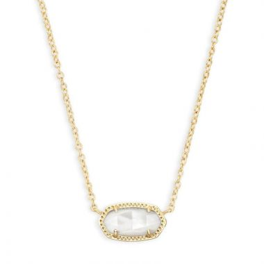 Kendra Scott 14 KT Gold Plated Elisa Necklace in Ivory Mother of Pearl