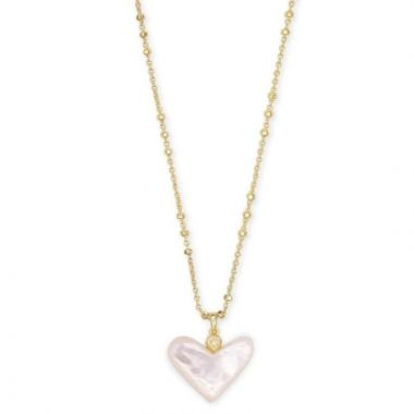 Kendra Scott 14 KT Gold Plated Poppy Heart Shaped Pendant in Ivory Mother of Pearl