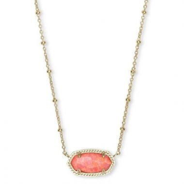 Kendra Scott 14 KT Gold Plated Elisa Satellite Short Necklace in Coral Opal