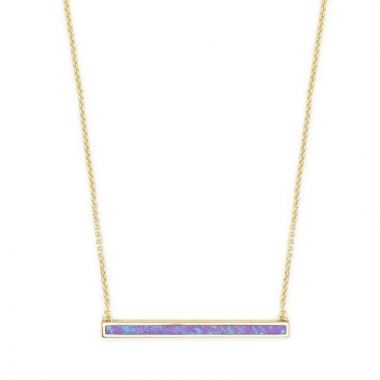 Kendra Scott 14 KT Gold Plated Kelsey Pendant Necklace in Violet Kyocera Opal