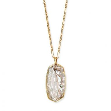 Kendra Scott 14 KT Vintage Yellow Gold Plated Faceted Reid Long Pendant Necklace in White Abalone