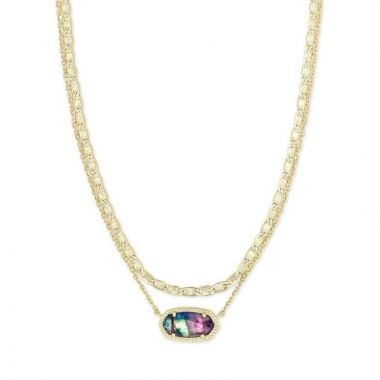 Kendra Scott 14 KT Gold Plated Elisa Multi Strand Necklace in Lilac Abalone