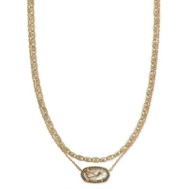 Kendra Scott 14 KT Vintage Yellow Gold Plated Elisa Multi Strand Necklace in White Abalone