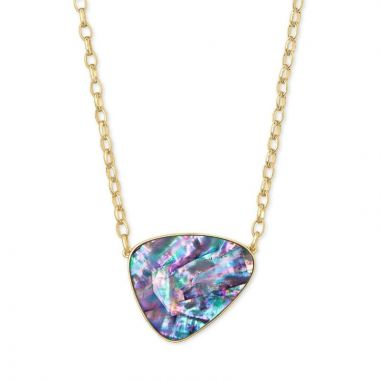 Kendra Scott 14 KT Gold Plated McKenna Pendant Necklace in Lilac Abalone