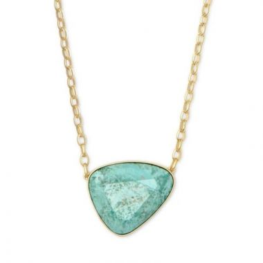 Kendra Scott 14 KT Gold McKenna Pendant Necklace in Sea Green Chrysocolla