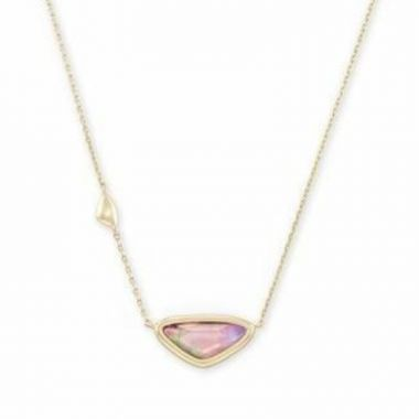 Kendra Scott 14 KT Gold Plated Margot Short Pendant Necklace in Lilac Abalone