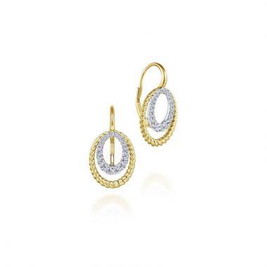 Gabriel & Co. 14k Two Tone Hampton Diamond Drop Earrings