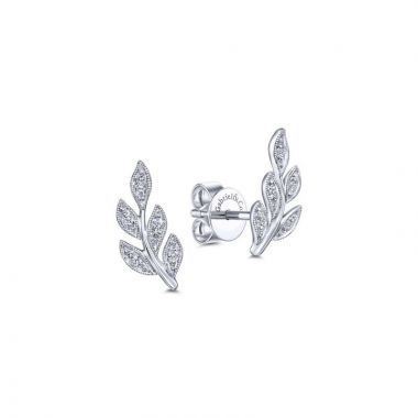 Gabriel & Co. 14k White Gold Floral Diamond Stud Earrings