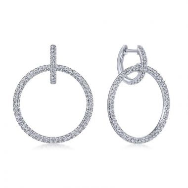 Gabriel & Co. 14k White Gold Lusso Diamond Huggie Earrings
