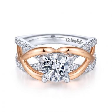 Gabriel & Co. 14k Two Tone Gold Contemporary Twisted Engagement Ring