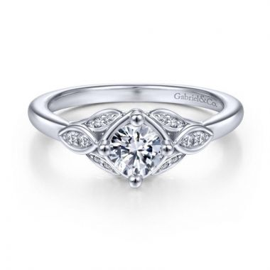 Gabriel & Co. 14k White Gold Art Deco Straight Engagement Ring