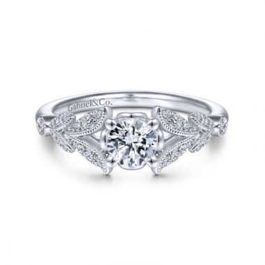 Gabriel & Co. 14k White Gold Victorian Split Shank Engagement Ring